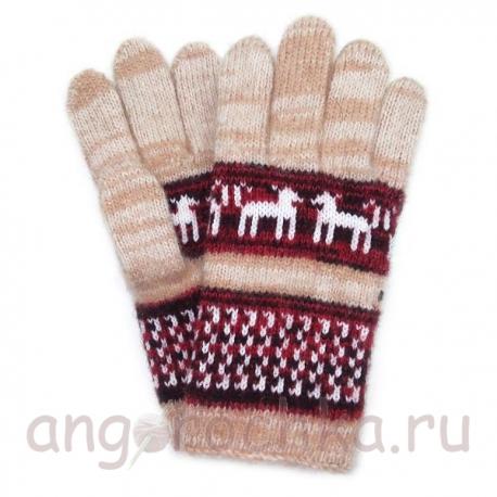 Цветные шерстяные перчатки с рисунком - собачками