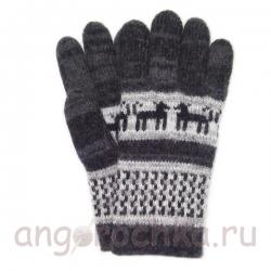 Серые шерстяные перчатки с рисунком - собачками