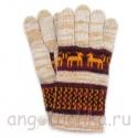 Бежевые шерстяные перчатки с рисунком - собачками