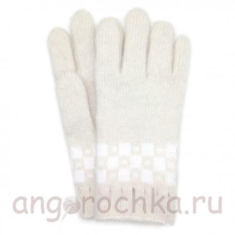 Мужские шерстяные перчатки с рисунком - клеткой
