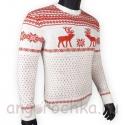 Шерстяной свитер с красным скандинавским рисунком