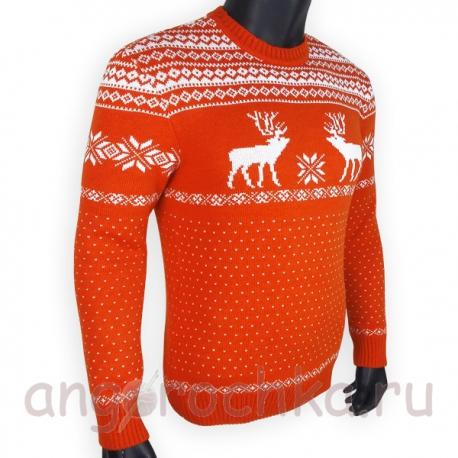 Шерстяной свитер с белым скандинавским рисунком