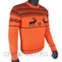 Оранжевый шерстяной свитер с черным рисунком - оленями