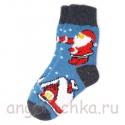 Синие женские шерстяные носки с Дедом Морозом
