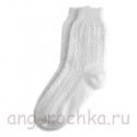 Белые женские вязаные носки с орнаментом