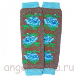 Шерстяные гетры с голубыми цветами