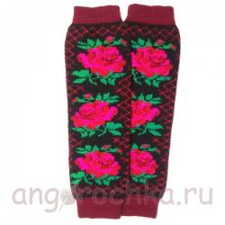 Шерстяные гетры с красными розами