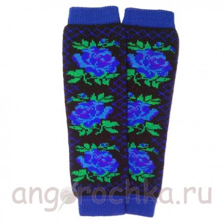 Черно-синие шерстяные гетры с цветами