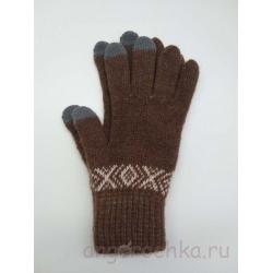 Коричневые перчатки для сенсорных телефонов