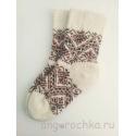 Носки шерстяные женские с коричневым орнаментом