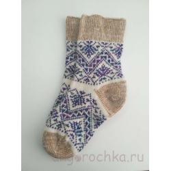 Женские носки шерстяные с фиолетово-зеленым орнаментом