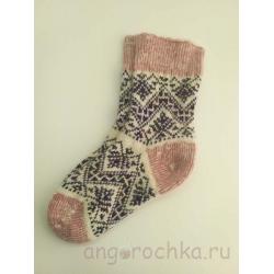 Женские носки с коричнево-фиолетовым орнаментом