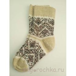 Женские шерстяные носки с коричневым узором