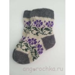 Детские шерстяные носочки с лиловыми цветочками