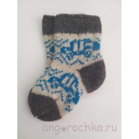 Детские носочки с голубой машинкой