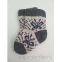 Детские шерстяные носочки с сине-малиновыми бабочками