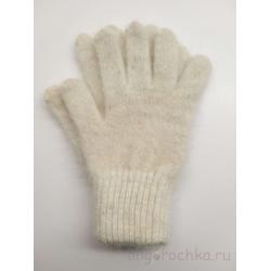 Белые женские пуховые перчатки