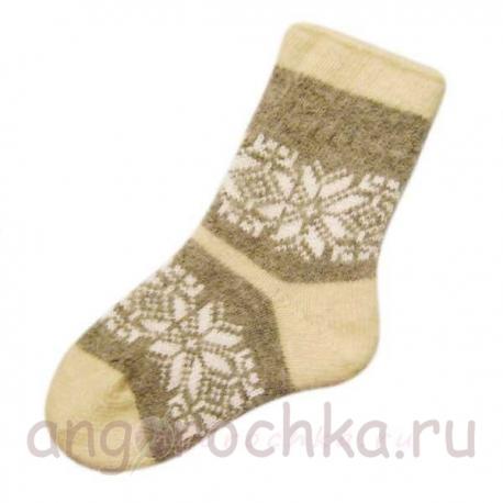 Женские вязаные теплые шерстяные носки со снежинкой