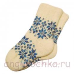 Женские шерстяные носки с синей снежинкой