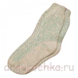 Бесшовные женские берюзовые вязаные носки с орнаментом