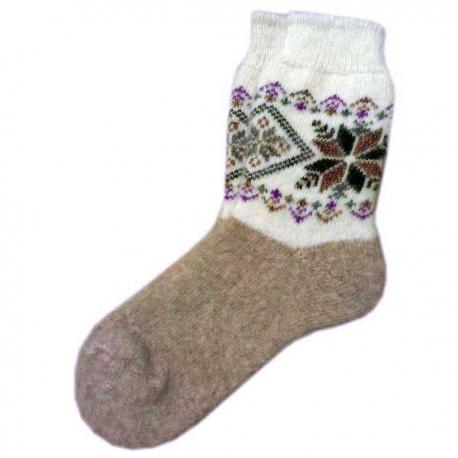 Женские шерстяные носки с зимним орнаментом
