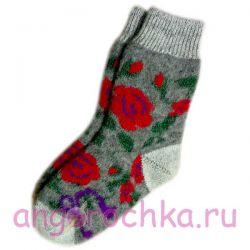 Женские шерстяные носки с цветами роз