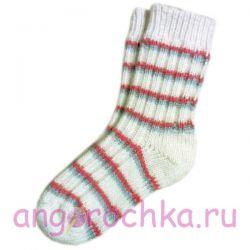 Женские белые шерстяные носки с полосками