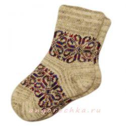 Женские вязаные шерстяные носки с орнаментом