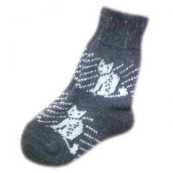 Детские шерстяные носки с рисунком-кошкой