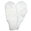 Белые пуховые варежки ручной работы