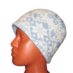 Вязаная шерстяная шапка с норвежским рисунком