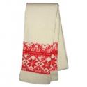 Вязаный шерстяной шарф с красным орнаментом