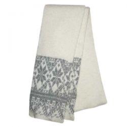 Белый вязаный шерстяной шарф с орнаментом