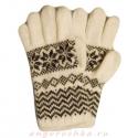Белые шерстяные перчатки с черным орнаментом