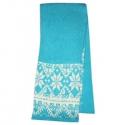 Голубой вязаный шерстяной шарф с орнаментом
