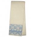 Белый вязаный шерстяной шарф с голубым орнаментом