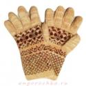 Темно-бежевые вязаные шерстяные перчатки с коричневым орнаментом