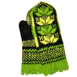 Светло-зеленые вязаные варежки с жёлтым узором