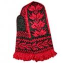 Варежки ручной вязки с красным узором