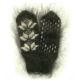 Черные мохеровые варежки с рисунком