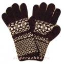 Черные вязаные мужские перчатки с белым орнаментом
