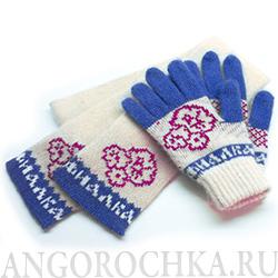 вязаный шерстяной комплект с логотипом шарф и варежки цена от 490 руб